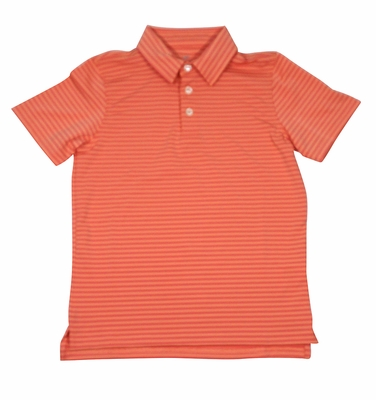 Southern Point Boys Youth Performance Polo Shirt - Orange / Yellow Stripes