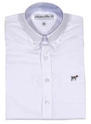 Southern Point Boys Youth Brindle Oxford Dress Shirt - Long Sleeves - White