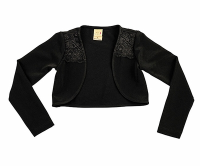 Studio 342 by Eiseman Girls Black Knit Bolero Shrug with Lace Trim