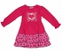 Switch-a-Roo Girls Hot Pink Knit Dress - Ruffle Trim - Switchable Patch - Valentines Heart