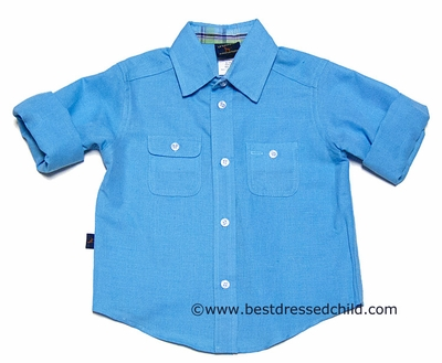 TF Laurence by Eiseman Boys Turquoise Blue Linen Blend Dress Shirt