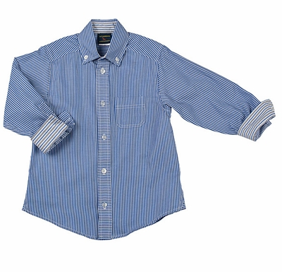 TF Laurence by Florence Eiseman Boys Blue / White Striped Dress Shirt with Cuffs