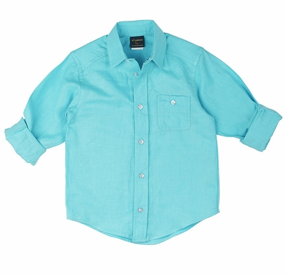 TF Laurence by Florence Eiseman Boys Linen Blend Shirt - Turquoise