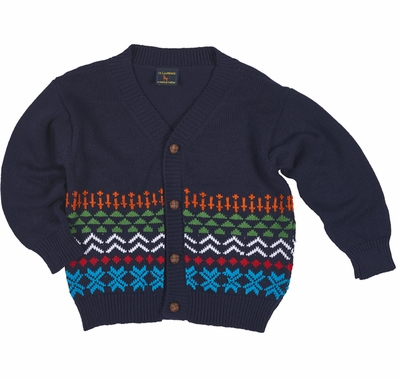 TF Laurence by Florence Eiseman Boys Navy Blue   Green Fair Isle Cardigan  Sweater 257006cec