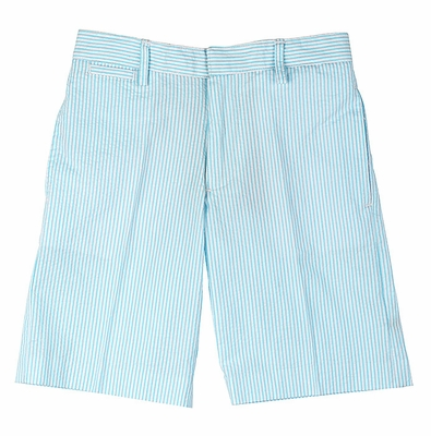 TF Laurence by Florence Eiseman Boys Turquoise Stripe Seersucker Dress Shorts