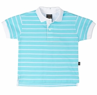 TF Laurence by Florence Eiseman Boys Turquoise / White Striped Polo Shirt
