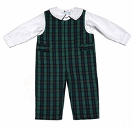 The Best Dressed Child Baby / Toddler Boys Navy Blue / Green Plaid Longall with Shirt
