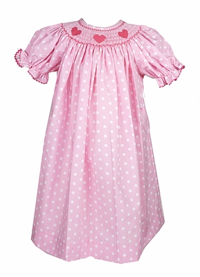 the best dressed child baby toddler girls pink white dots smocked valentines day hearts dress - Valentine Dresses For Girls