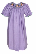 The Best Dressed Child Baby / Toddler Girls Purple Gingham Smocked Mardi Gras Masks Dress