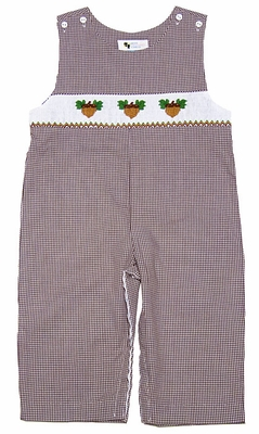 The Best Dressed Child Boys Brown Gingham Smocked Fall Acorns Longall