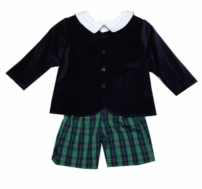 The Best Dressed Child Boys Dressy Eton Suit - Navy Blue Velvet Jacket with Navy / Green Plaid Shorts