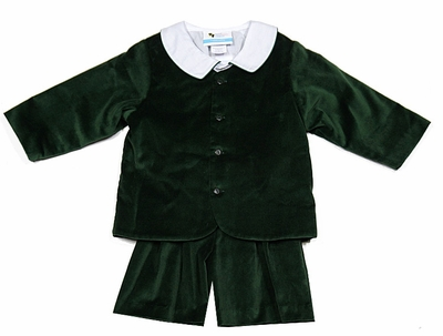 The Best Dressed Child Boys Dressy Velvet Eton Suit - Shorts - Hunter Green