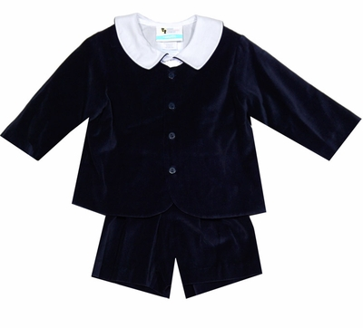 The Best Dressed Child Boys Dressy Velvet Eton Suit - Shorts - Navy Blue