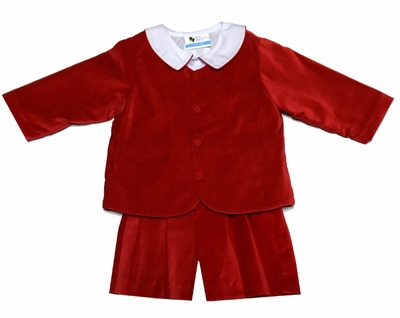 The Best Dressed Child Boys Dressy Velvet Eton Suit with Shirt - Shorts - Red
