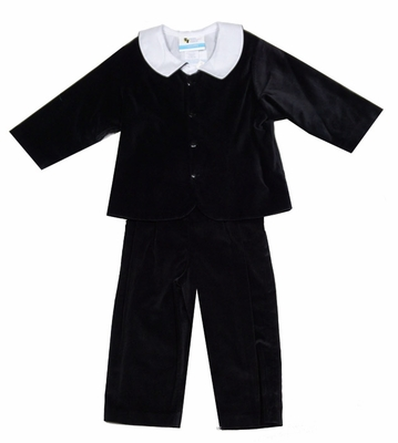 The Best Dressed Child Boys Dressy Velvet Suit with Shirt - Long Pants with Suspenders - Black