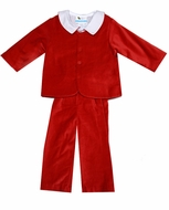 The Best Dressed Child Boys Dressy Velvet Suit - Long Pants - Red