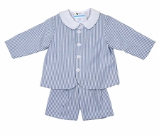 The Best Dressed Child Boys Eton Suits - Seersucker - Blue Stripe