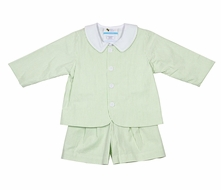 The Best Dressed Child Boys Eton Suits - Seersucker - Green Stripe