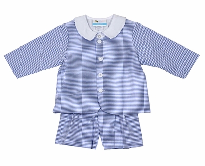 The Best Dressed Child Boys Eton Suits - Seersucker - Royal Blue Check
