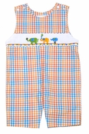 The Best Dressed Child Boys Orange / Blue Plaid Smocked Circus Elephants Shortall