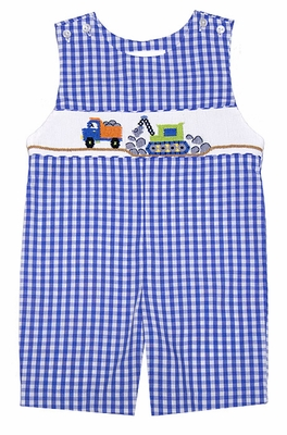 The Best Dressed Child Boys Royal Blue Check Smocked Construction Trucks Shortall