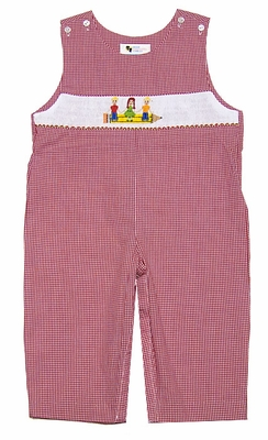 The Best Dressed Child Exclusive Boys Red Gingham Smocked School Pencil / Kids Longall