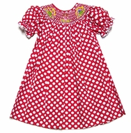 The Best Dressed Child Exclusive Girls Red / White Polka Dots Smocked School Pencils Bishop Dress