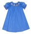 The Best Dressed Child Girls Blue Corduroy Smocked Toy Animals Parade Bishop Dress