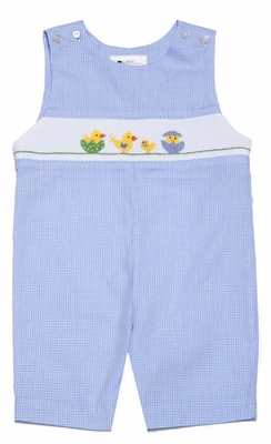 The Best Dressed Child Boys Blue Gingham Smocked Easter Chicks in Eggs Shortall