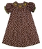 The Best Dressed Child Girls Brown / White Dots Smocked Fall Acorns Bishop Dress