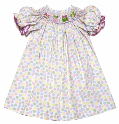 The Best Dressed Child Girls Pastel Polka Dots Smocked Birthday Gifts Dress