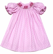 The Best Dressed Child Girls Pink Polka Dots Smocked Pink Elephants Dress