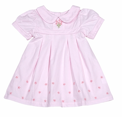 The Oaks Girls Pink Brooke Dress with Embroidery - Short Sleeves