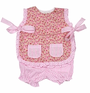 The Oaks Baby / Toddler Girls Pink Floral / Stripes Bloomers Set - Pockets & Side Ties