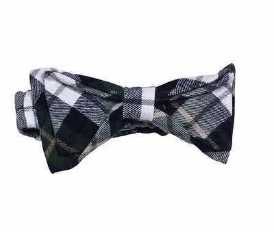 The Oaks Baby / Toddler Boys Traditional Black Plaid Bow Ties - Green