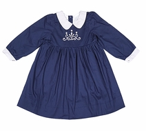 The Oaks Girls Abbie Kate Dress - Navy Blue with Light Gray Embroidery - Long Sleeves