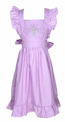 The Oaks Girls Kennedy Ruffle Pinafore Dress - Purple with Embroidery