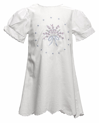 The Oaks Girls Vintage Ann Dress - White with Short Sleeves and Flower Embroidery