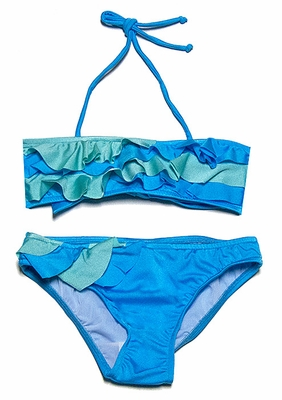 f805ee7876 To the 9's Tweens Swimsuit - Ruffled Bandeau Color Block Bikini - Mint /  Turquoise