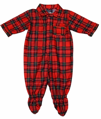 b3f8db56e5 Tom   Jerry   Laura Dare Baby Boys Red Christmas Holiday Plaid Footie  Pajamas