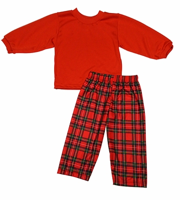 Tom & Jerry / Laura Dare Boys Holiday Tartan Plaid Pajamas with Red Long Sleeved Top