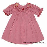 Vive la Fete Collegiate NCAA Girls Red Gingham Smocked Alabama Crimson Tide Bishop Dress