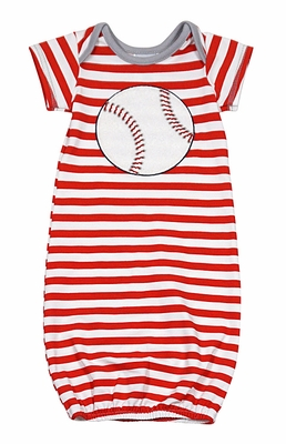 Wally & Willie Baby Boys Red Striped Baseball Gown