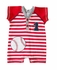 Wally & Willie Baby Boys Red Striped Baseball Romper