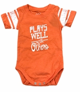 Wes & Willy Baby Boys Orange Crush Plays Well with Others Onesie Shirt