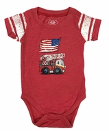 Wes & Willy Baby Boys Red Onesie Romper - Patriotic Flag on Fire Truck