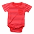 Wes & Willy Baby Boys Striped Onesie Shirt with Pocket - Bright Red