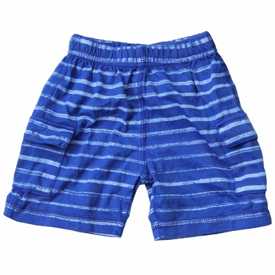 Wes & Willy Baby / Toddler Boys Striped Knit Cargo Shorts - Royal Blue