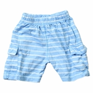Wes & Willy Baby / Toddler Boys Striped Knit Cargo Shorts - Sky Blue
