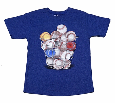 Wes & Willy Boys Basket of Sports Baseballs Blue T-Shirt